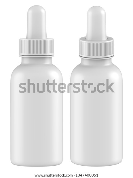 3d Rendering Realistic Empty Dropper Bottles Stock
