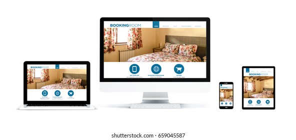 3d rendering of realistic isolated devices showing booking website on screen: tablet, phone, computer and laptop on white background.