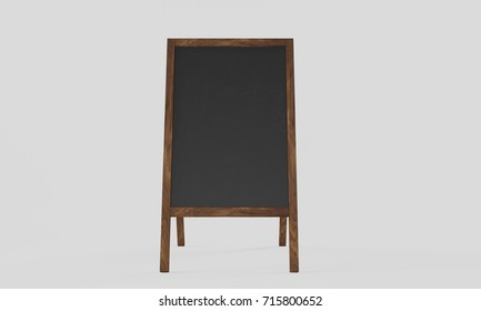 3d rendering Realistic menu announcement board icon set isolated on white background. Clean restaurant outdoor blackboard background. Mockup of chalkboard for restaurant menu.