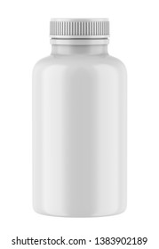 3D rendering realistic plastic bottle for pharmaceutical, supplement, vitamin, chemical. Mock-up template on white background