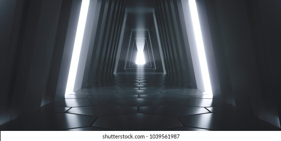 3D Rendering Of Realistic Sci-fi Dark Tunnel With Lights