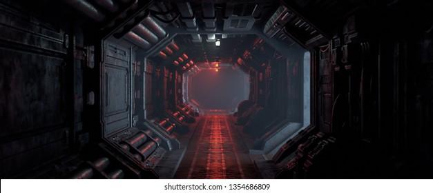 3d rendering of realistic sci-fi dark corridor with red light. Futuristic tunnel with grunge metal walls. Cyberpunk tunnel. Interior view. Modern futuristic hall. Empty corridor in a spaceship. Fog.