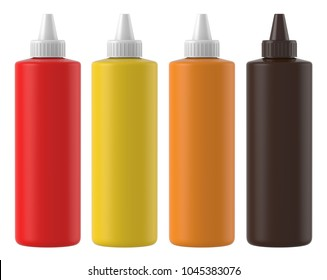 3D rendering Realistic set of Squeeze bottle for sauce, milk, chocolate, mustard, tomato sauce, chili sauce, mayonnaise. Mock up on a white background