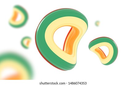 3D Rendering. Realistic twisted abstract torus. 3D abstract torus shape.