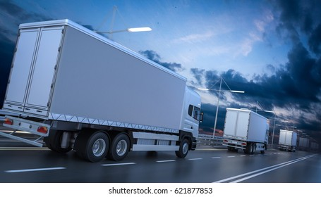 3D rendering of Rear View of Several Cargo Trucks on the Highway