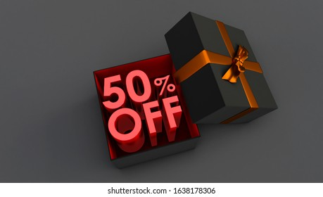 3D rendering of red 50 Percent off, Special Offer 50% Discount Tag, Sale Up to 50 Percent Off, Fifty percent discount.