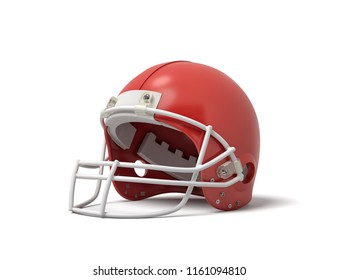 3d rendering of a red American football helmet with a white protective grid on a white background. Sport equipment. Head protection. American football gear.