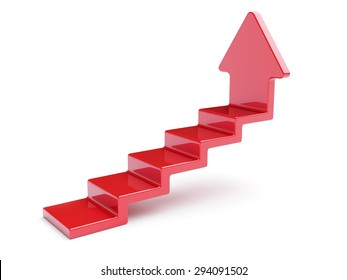 3d rendering of red up arrow stairs isolated on white background
