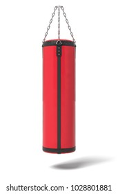 3d rendering of a red and black boxing bag hanging on metal chains on a white background. Sports and training. Gym equipment. Martial arts equipment.