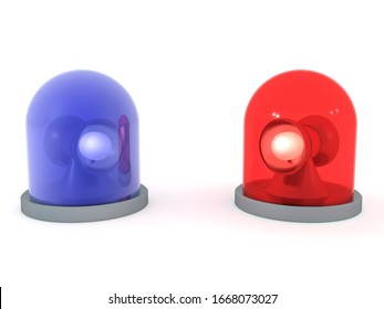 3D Rendering of red and blue emergency flashing light beacons. 3D Rendering isolated on white.