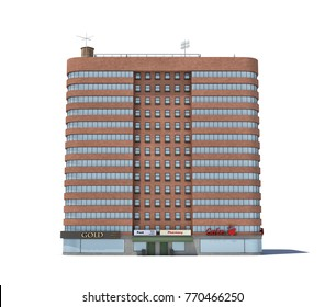 3d rendering of a red brick apartment building with shops on the ground floor. Living places. Urban residence. Condominium.