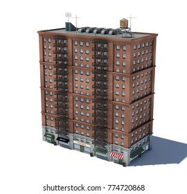 3d rendering of a red brick apartment building with fire escapes and shops on the ground floor. Living places. Urban residence. Condominium.