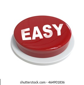 3d rendering of a red button with easy word  written on it isolated on white background