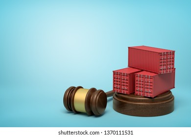 3d rendering of red cargo containers on round wooden block and brown wooden gavel on blue background. Digital art. Objects and materials. Storage and warehousing.