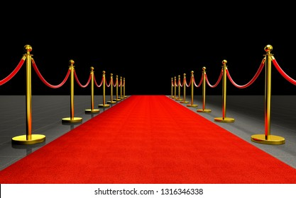 3d rendering of red carpet and barrier