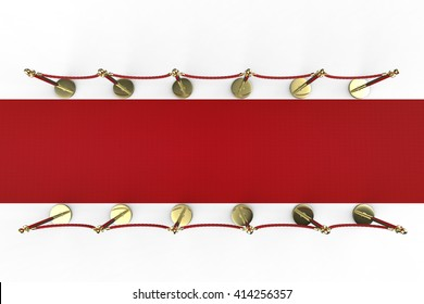 3d rendering red carpet with rope barrier top view