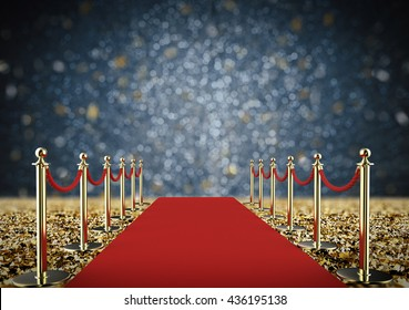 3d rendering red carpet and rope barrier