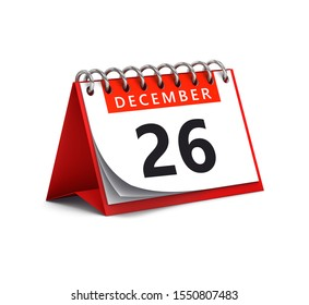 3D rendering of red desk paper december 26 date - calendar page