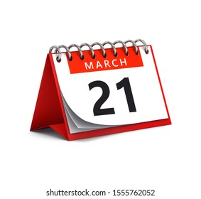 3D rendering of red desk paper spring month of March 21 date - calendar page isolated on white