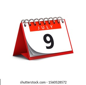 3D rendering of red desk paper spring month of July 9 date - calendar page isolated on white background