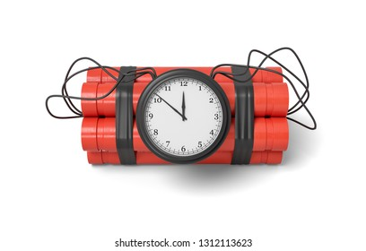 3d rendering of red dynamite stick time bomb isolated on white background. Digital art. Explosive materials. Time bomb ready to explosion.