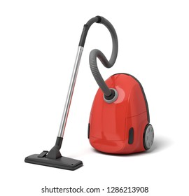 3d rendering of red electric vacuum cleaner isolated on white background. Digital art. Home cleaning. Electric devices.