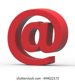 3D rendering red Email symbol isolated on white background