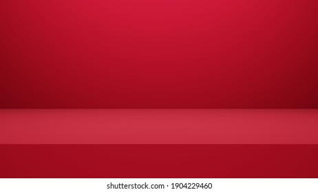 3D rendering of red empty studio room, product background, template mockup for valentine's day display. love concept