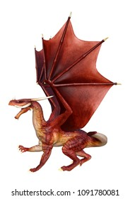 3D rendering of a red fairy tale dragon isolated on white background