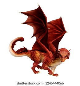 3D rendering of a red fantasy dragon isolated on white background