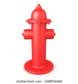 3D Rendering of red fire hydrant. 3D Rendering isolated on white.