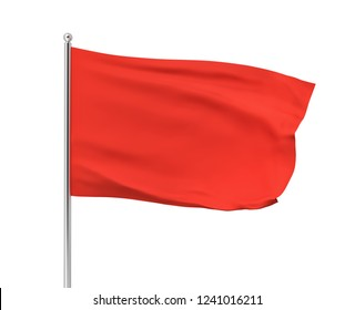 3d rendering of red flag hanging on post and wavering on a white background. Throwing white flag. Symbol of freedom. Surrender and giving up.