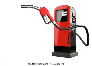 3d rendering of a red gas pistol with gasoline dispenser pumps isolated on white background with clipping paths.