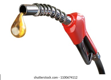 3d rendering of a red gasoline dispenser handles with oil drops, isolated on white background with clipping paths.