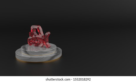 3D rendering of red gemstone symbol of snowplow on marble round pedestal with gold stripes on dark background with blurred reflection