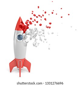 3d rendering of red and grey toy space rocket starting to dissolve into pieces on white background. Play and construct. Develop new interests. Scale new heights.