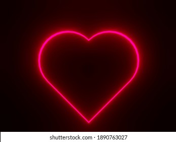 3D rendering of red heart neon on black background. Valentine's day concept. 3D illustration.