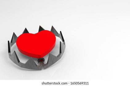 3d rendering. Red heart on teeth jaw trap on white background. Risk in love concept.