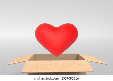 3d rendering. A red heart shape object eject from opened  paper borwn box on copy space gray background.