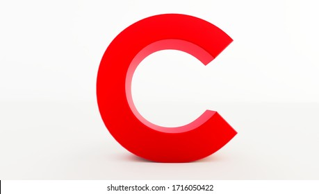 3D rendering of red Letter C. red letter collection c