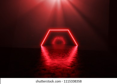 3d rendering of red lighten hexagon on grunge background with light rays
