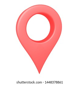 3D Rendering of red location pin. 3D Rendering isolated on white.