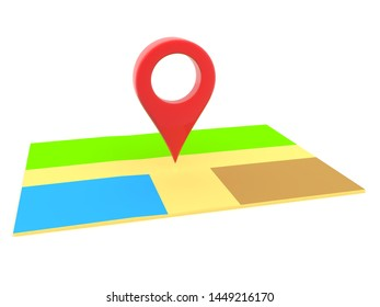 3D Rendering of red location pin on map. 3D Rendering isolated on white.