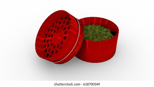 3D Rendering Of A Red Metal Grinder Filled With Cannabis