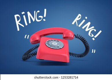 3d rendering of a red old-fashioned landline telephone ringing loudly with the words 'Ring' on both sides. Keep in touch. Communication service provider. Learn the news.