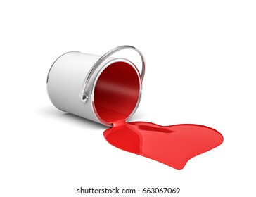 3d rendering of a red paint bucket lying on its side with paint leaking out and made heart shape. Renovation and design. Interior. Building supplies.