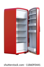 3D rendering of a red refrigerator isolated on white background