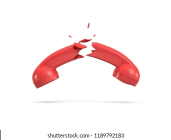 3d rendering of a red retro phone receiver broken in half on a white background. Important call. Stop communication. Broken phone line.