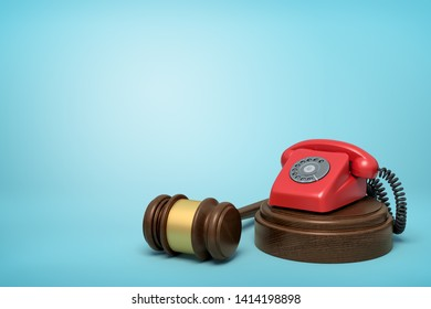 3d rendering of red retro telephone standing on sounding block with gavel beside on light-blue background with copy space. Blackmail law. Make blackmail illegal. Refund telephone taxes.