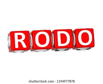 3D Rendering Red Rodo Word Over White Background.